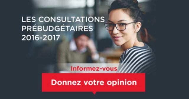 Les consultations prébudgétaires 2016-2017 du ministre des Finances du Québec sont en cours. (Groupe CNW/Cabinet du ministre des Finances)
