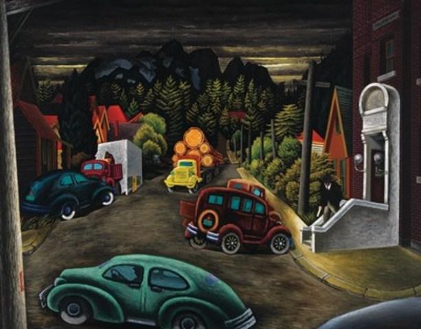 The Post Office at Courtenay, BC, Une toile d'après-guerre d'importance historique, réalisée en 1949 par l'artiste de guerre canadien E. J. Hughes, sera en vedette dans la vente en salle printanière de la Maison Heffel (évaluation entre 600 000 $ et 800 000 $) (Groupe CNW/Heffel Gallery Limited)