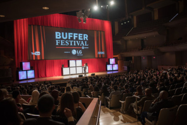 Media and fans attend the Red Carpet Gala premiere of the 2015 Buffer Festival. More than 5,000 guests are ...