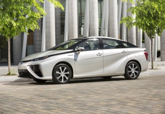 Toyota's Mirai Fuel Cell Electric Vehicle (FCEV) plus its broad range of advanced powertrain technologies to be showcased at EVS29 in Montreal, Quebec, demonstrating the possibilities for widespread adoption of transportation and a reduced dependency on fossil fuels. (CNW Group/Toyota Canada Inc.)