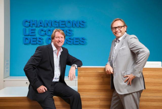 David Léonard, président et chef de l'exploitation de DDB Canada (gauche) et Sébastien Fauré, chef de la direction de Bleublancrouge (droite) sont heureux d'annoncer une alliance stratégique entre les les deux agences et le lancement de DDB Canada Montréal. (Groupe CNW/DDB Canada)