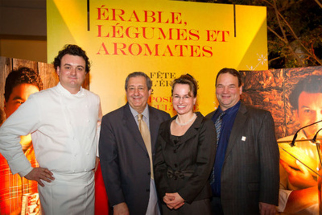 Armand Arnal, Philippe Mollé, Geneviève Béland, Serge Beaulieu. (CNW Group/FEDERATION OF QUEBEC MAPLE SYRUP PRODUCERS)