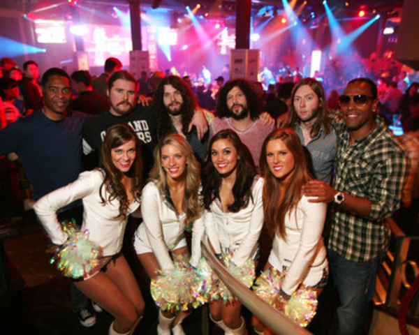 NFL Players Marcus Allen and T.J. Houshmandzadeh, the Seattle Seahawks Cheerleaders (The Sea Gals) and The Sheepdogs, entertained thousands of fans at Vancouver's Official Super Bowl XLVI Party, hosted by the NFL and presented by Bud Light. (Marcus allen on far left, TJ Houshmandzadeh on far right.) (CNW Group/NFL)
