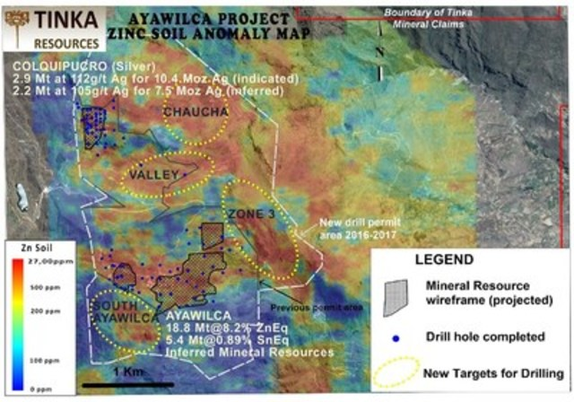 Zinc soil anomaly map highlighting targets for the 2016-2017 drill program at Ayawilca (CNW Group/Tinka Resources Limited)
