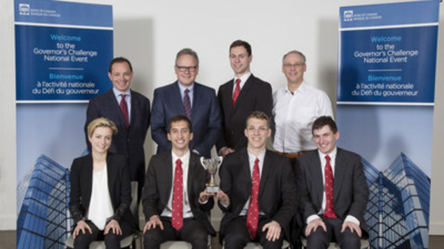 McGill University team, national champion of The Governor's Challenge 2015-16 Top left to right: Francisco Ruge-Murcia (coach); Governor Stephen S. Poloz; Troy Maclure; Chris Ragan (coach) Bottom left to right: Justine Schafer; Simon Altman; Valentyn Litvin; Daniel Morrison (CNW Group/Bank of Canada)