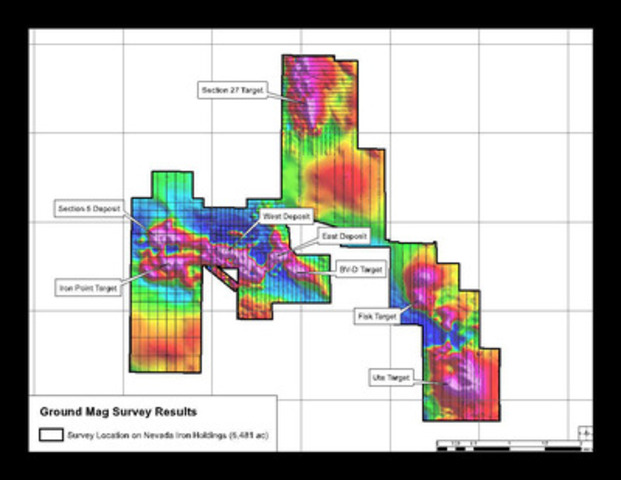 Figure 3 - Ground magnetics showing new anomalies at Section 27 target (CNW Group/Nevada Iron Ltd)