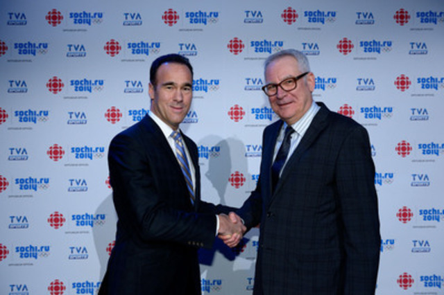 CBC/Radio-Canada, the official rights holder broadcaster of the Sochi 2014 Olympic Winter Games has chosen the TVA Sports Network as one of the Official Cable Broadcasters involved in presenting the event. The agreement was announces by CBC/Radio-Canada executive vice-president Louis Lalande and TVA Group's president and CEO Pierre Dion. (CNW Group/Canadian Broadcasting Corporation)