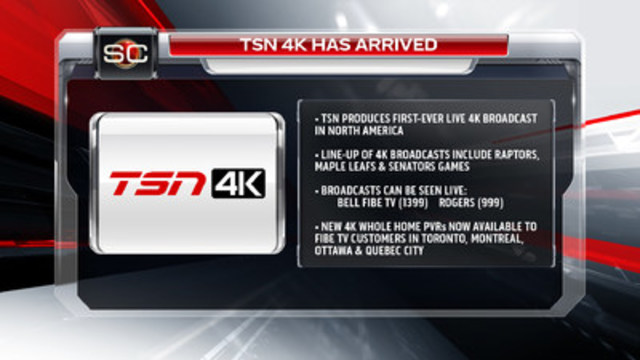 TSN 4K has arrived (download graphics at http://bit.ly/1RS5VEs). (CNW Group/TSN)