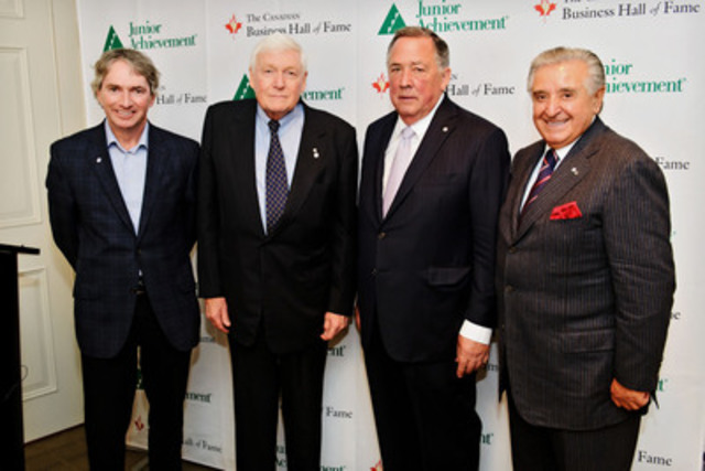 2014 CANADIAN BUSINESS HALL OF FAME INDUCTEES ANNOUNCED (From: left to right: Geoff Smith, President & CEO, EllisDon accepting on behalf of his father Donald J. Smith; L.R. Wilson, Chancellor, Order of the Business Hall of Fame; Peter M. Brown, Founder & Honorary Chairman, Canaccord Genuity; Emanuele (Lino) Saputo, Chairman of the Board, Saputo Inc.) (CNW Group/Canadian Business Hall of Fame)