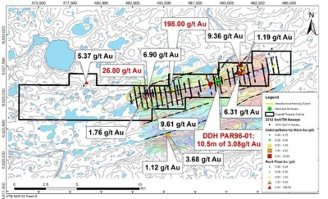 Figure 1: Map of Au Results from Rock Grab Samples - 2015 Qiqavik Prospecting Program and historical results (CNW Group/Royal Nickel Corporation)