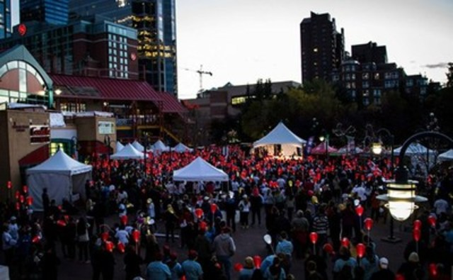 Thousands expected at Eau Claire Market to carry illuminated red, white and yellow lanterns in support, honour, and memory of loved ones affected by blood cancers during 12th annual Light The Night Walk on October 15, 2016 (CNW Group/The Leukemia & Lymphoma Society of Canada)