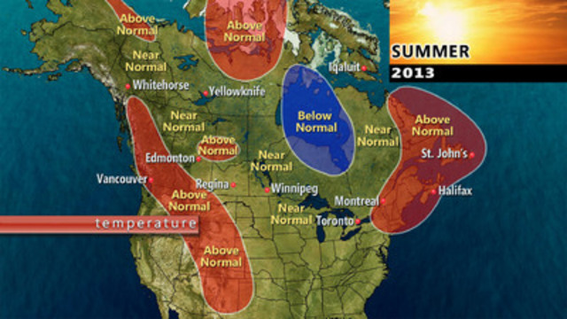 The Weather Network expects near normal to above normal temperatures across much of Canada this summer (CNW Group/The Weather Network)