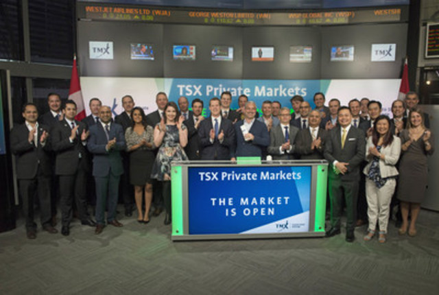 Representatives from TSX Private Market issuers joined Peter Conroy, President, Shorcan Brokers Ltd.; Co-Managing Director, TSX Private Markets and Ungad Chadda, Senior Vice President, Toronto Stock Exchange, TMX Group  to open the market in celebration of TSX Private Markets Investor Day.  At the first annual Investor Day issuers will present an overview of their investment opportunities to market participants. TSX Private Markets is a dealer-to-dealer voice-brokered service, complemented by an informational website that facilitates the raising of capital and secondary trading in the Canadian exempt market. (CNW Group/TMX Group Limited)