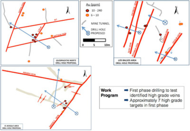 Figure 3 - Quebraditas Drill Hole Examples (CNW Group/Trident Gold Corp.)