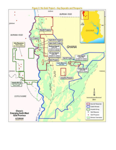 Figure 2: Wa Gold Project - Key Deposits and Prospects (CNW Group/Azumah Resources Inc)