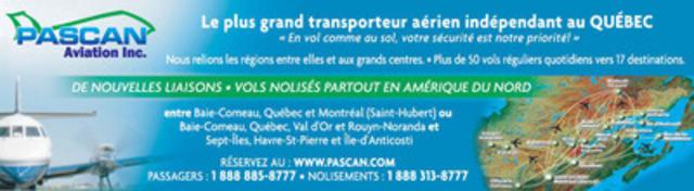 Publicité régionale - Nouvelles liaisons (Groupe CNW/Pascan Aviation inc.)