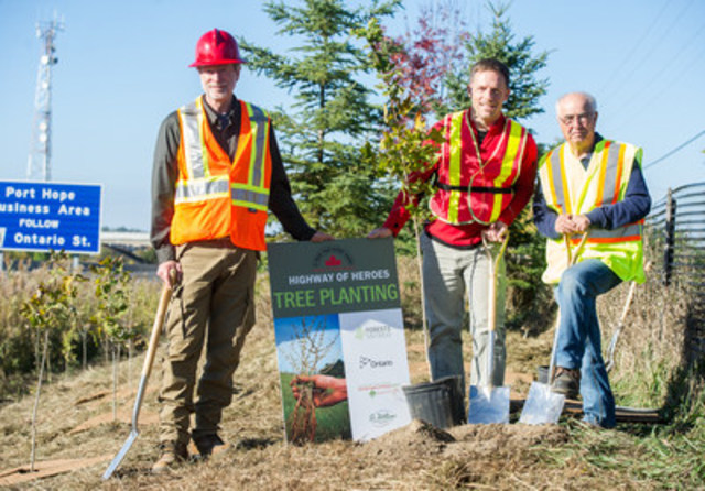 "Today near Port Hope, MPP Lou Rinaldi (right) joined Al Corlett (left), Director of Forest Operations, Forests Ontario and Scott Bryk , Executive Director, Highway of Heroes Living Tribute plant to plant the first 1800 trees for the ""A Tree for Every Hero"" project. (CNW Group/Forests Ontario)"