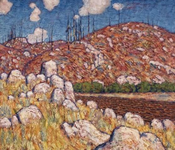 Trois œuvres importantes du fondateur du Groupe des Sept Lawren Harris seront mise aux enchères dans la vente en salle printanière de la Maison Heffel, incluant un huile sur toile importante, Laurentian Landscape, une œuvre fondatrice du Groupe des Sept (évaluation entre 1 200 000$ et 1 600 000$) (Groupe CNW/Heffel Gallery Limited)