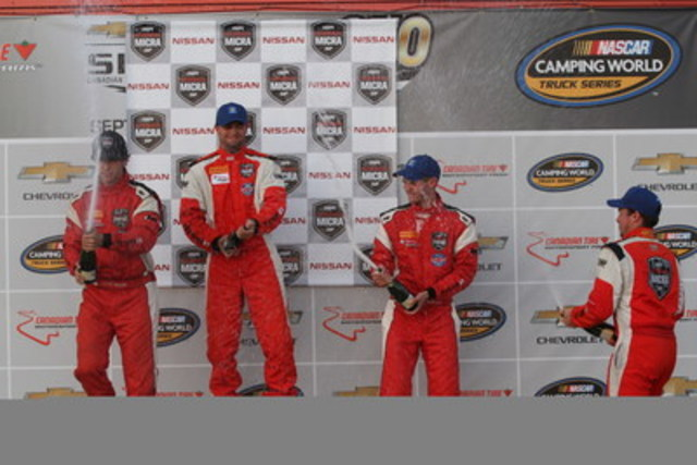 The podium following the first race, with Bédard (second), Coupal (first), Hammann (third) and Gauthier (first rookie) (CNW Group/Nissan Canada Inc.)