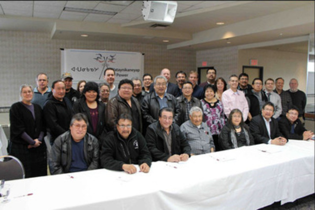 Leaders and representatives of the First Nations communities and Goldcorp met on March 28, 2013, to formally incorporate Wataynikaneyap Power.(CNW Group/Wataynikaneyap Power)