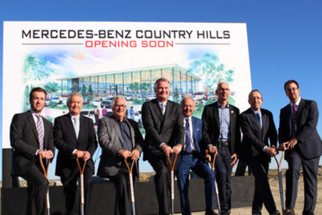 Mercedes-Benz Country Hills broke ground on its future home in Calgary on September 12, 2015. From left to right: Mike McManes, General Manager – McManes Automotive; Jim McManes, President – McManes Automotive; Jim Stevenson, Calgary City Council; Tim Reuss, President and CEO – Mercedes-Benz Canada; Rick Bowie, Vice-President Real Estate – McManes Automotive; Paul Gilroy, Director of Process Development – Mercedes-Benz Canada; Stefan Karrenbauer, President & CEO –Mercedes-Benz Financial Services Canada; Ryan Alexander, Dealer Relations Manager –Mercedes-Benz Financial Services Canada. (CNW Group/Mercedes-Benz Canada Inc.)