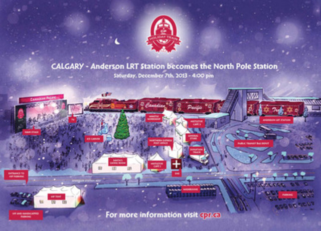 Artist rendering of site at CP Holiday Train concert in Calgary (CNW Group/Canadian Pacific)