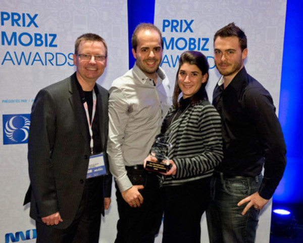 Mobiz BUSINESS Awards - Media and Marketing: Yvon Théorêt, Director of Technologies at Ingenio, and award recipients Nicolas Baldovini, Lucie Duprat and Maxime St-Pierre from Nurun. (CNW Group/LOTO-QUEBEC)