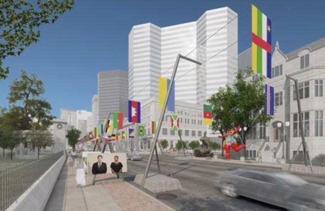 La Balade pour la Paix, un Musée à ciel ouvert @Claude Cormier et associés (Groupe CNW/Société des célébrations du 375e anniversaire de Montréal)