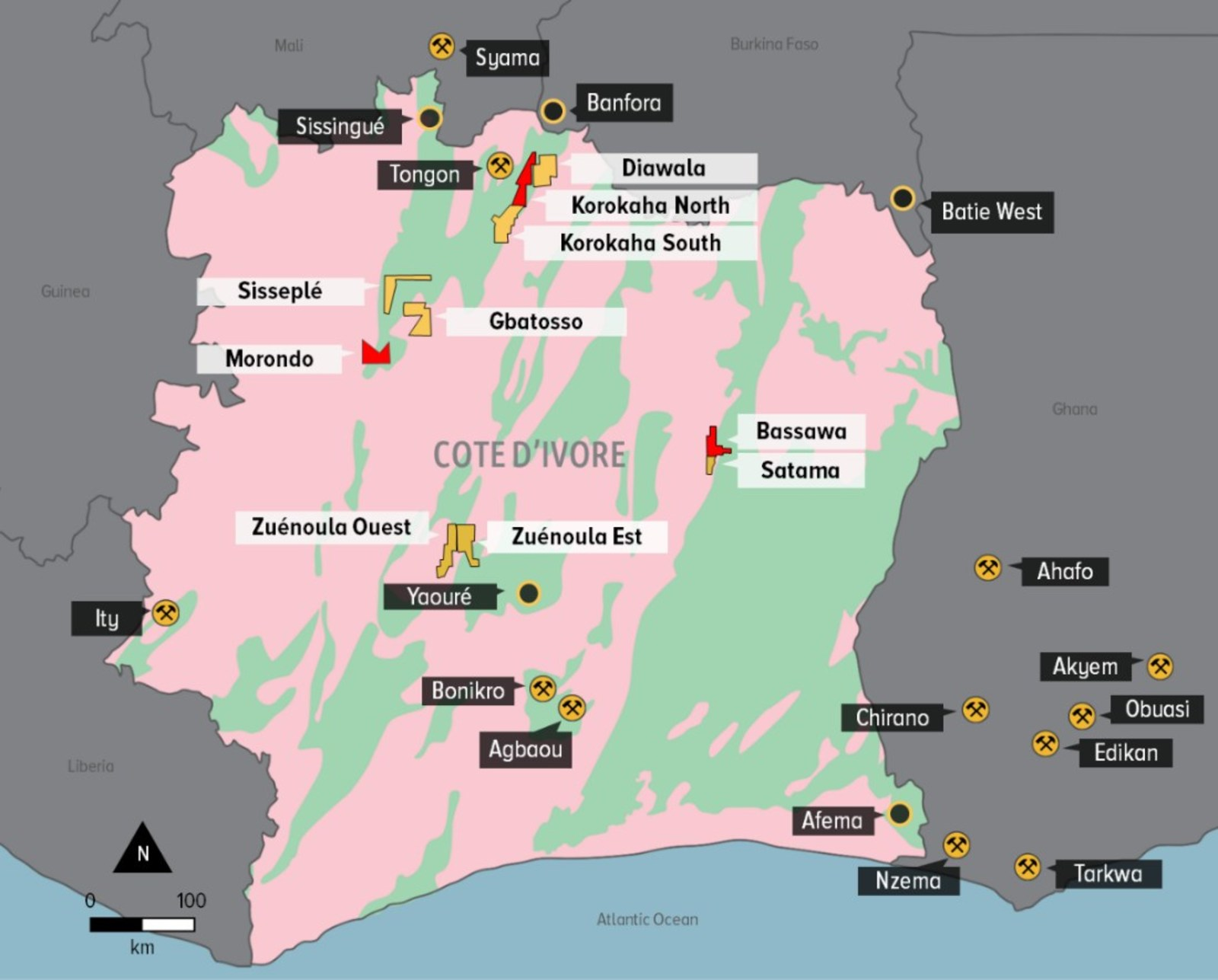 FIGURE 1: Orca Exploration Portfolio in Côte d'Ivoire