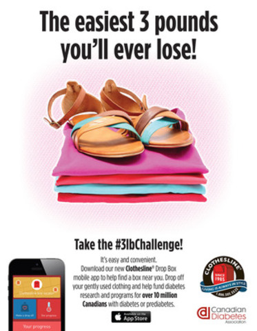 CDA challenges people to lose three pounds of clothing for a cure (CNW Group/Canadian Diabetes Association)