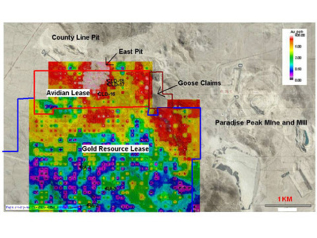 Figure 1: Radar Project, Showing Drill Hole Collars, Goose Property and Soil Au Geochemistry. (CNW Group/Altan Nevada Minerals Limited)