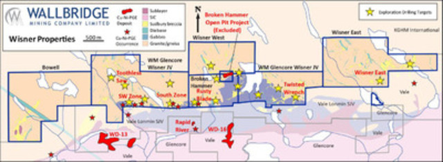 Figure 1: Wisner compilation map showing exploration target areas. (CNW Group/Wallbridge Mining Company Limited)