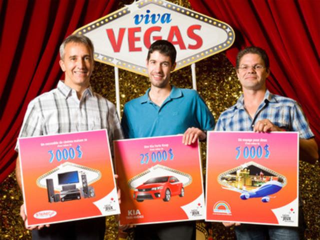 Le 9 septembre dernier a eu lieu le tirage de la promotion Viva Vegas au Salon de jeux de Trois-Rivières. Sur la photo, dans l'ordre habituel, on aperçoit MM. Léon Ricard, gagnant d'un ensemble de cinéma-maison 3D, Mathieu Paquin, gagnant d'une Kia Forte Koup 2011 et Yves Panadis, gagnant d'un voyage pour deux. (Groupe CNW/LOTO-QUEBEC)