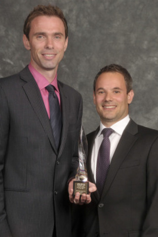 Chris Stannell, Regional Communications Manager, Western Canada, McDonald's Restaurants of Canada Ltd. (L). Adam Wall, Senior Vice-President, Brand Engagement, GolinHarris. Gold Award of Excellence winner in Media Relations. (CNW Group/Canadian Public Relations Society)