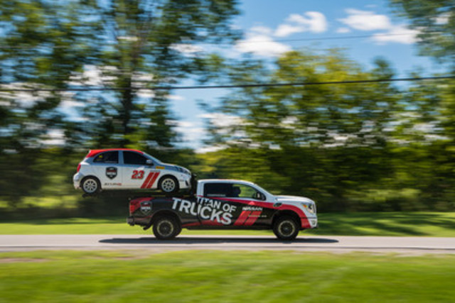 The TITAN Hauler XD project truck builds on the production TITAN XD's already exceptional towing and hauling capabilities by almost doubling the payload rating with a Nissan Micra secured in the truck bed. (CNW Group/Nissan Canada Inc.)