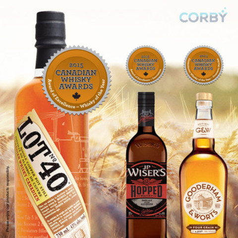 Corby Spirit and Wine has been recognized with three prestigious honours at the sixth annual Canadian Whisky Awards, including 2015''s Canadian Whisky of the Year for Lot No. 40. Corby''s Gooderham & Worts and J.P. Wiser''s Hopped Canadian whiskies were also recognized with the Award of Excellence– - Best New Whisky and the Award of Excellence - —Innovation, respectively. (CNW Group/Corby Spirit and Wine Communications)
