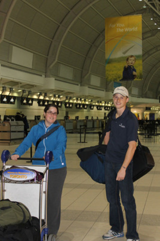 Marianne Maertens (left) and Tim Kikkert left Toronto's Pearson Airport early Wednesday to join Samaritan's Purse's Typhoon Haiyan relief efforts in the Philippines. Maertens is volunteering for two weeks while Kikkert is working for Samaritan's Purse for a month. (CNW Group/Samaritan's Purse Canada)