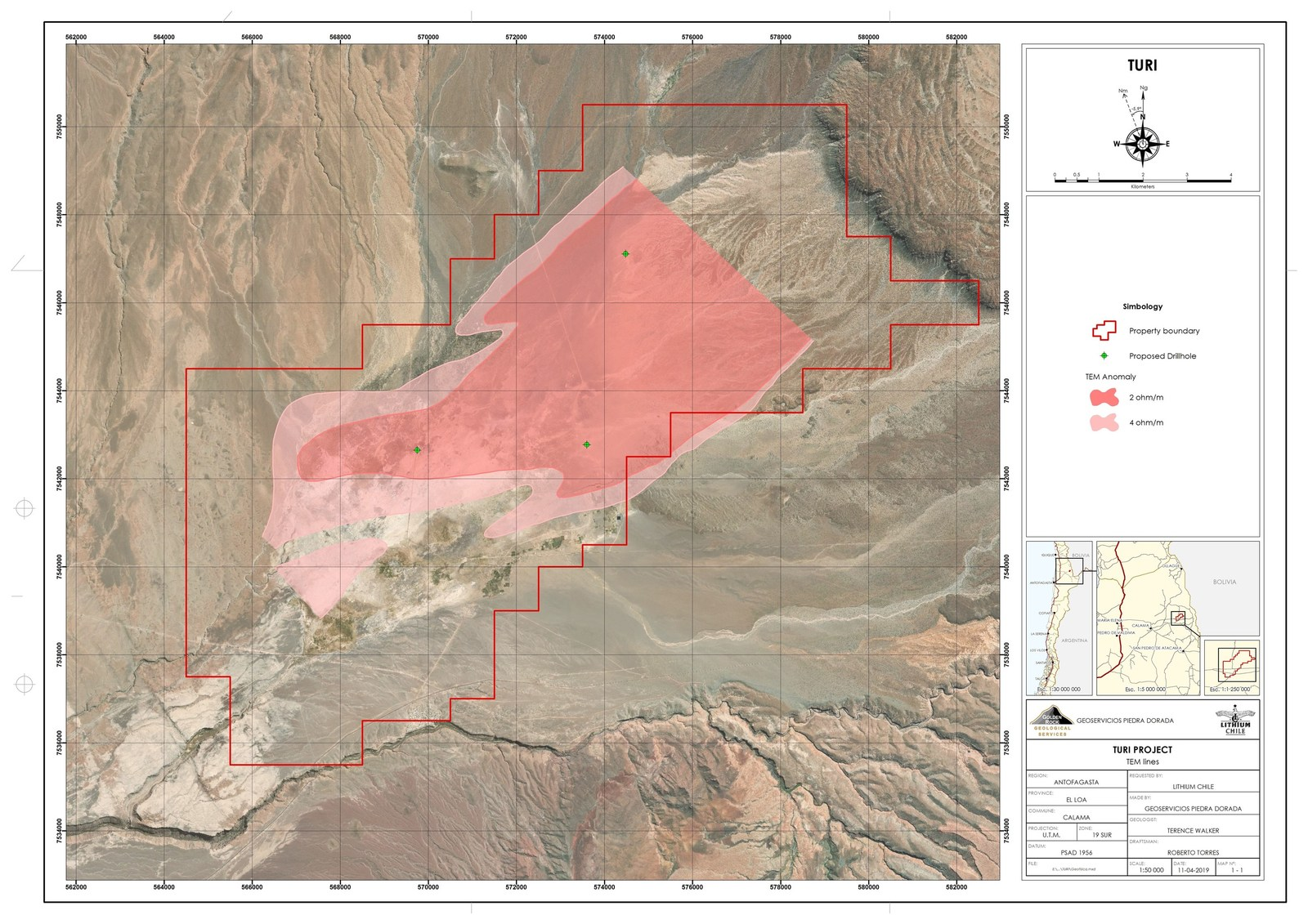 Turi Property - TEM and Proposed Drill Hole Location