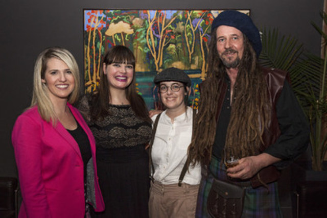 Eleanor King was presented with the 2016 Glenfiddich Canadian Artist in Residence Prize during an evening event at The Spoke Club in Toronto on Tuesday, March 22. Left to Right: Nicole Oliva, National Brand Manager, Glenfiddich Canada; Elizabeth Havers, Brand Ambassador for Glenfiddich Canada; Eleanor King, Glenfiddich AiR 2016 Recipient; and Andy Fairgrieve, Glenfiddich Artist in Residence Curator (CNW Group/William Grant & Sons Ltd.)