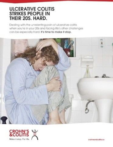 ULCERATIVE COLITIS STRIKES PEOPLE IN THEIR 20S. HARD. This Public Service Announcement is available to download. (CNW Group/Crohn's and Colitis Canada)