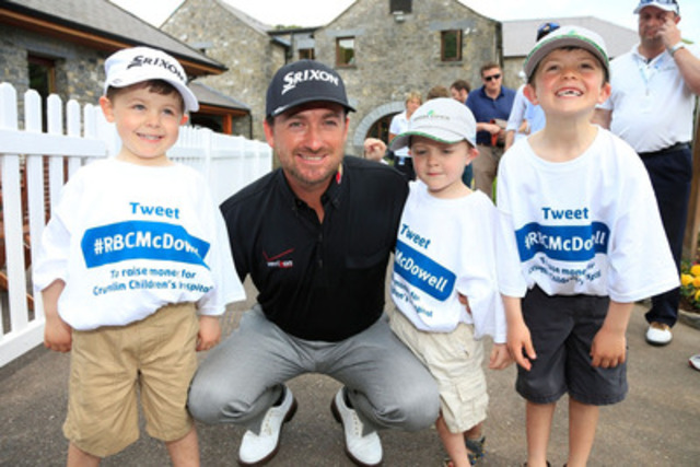 Team RBC's Graeme McDowell, winner of the #RBCGolf4Kids charity challenge, visits children at Our Lady Children's Hospital Crumlin in Dublin, Ireland. (CNW Group/RBC)