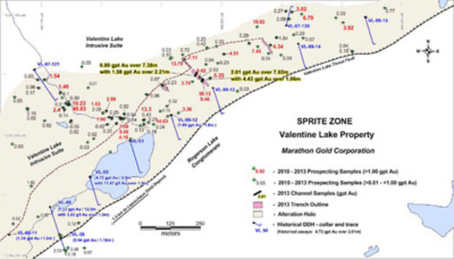 Location map of new trenches and grab samples, Sprite Zone, Valentine Lake Property, Newfoundland. (CNW Group/Marathon Gold Corporation)