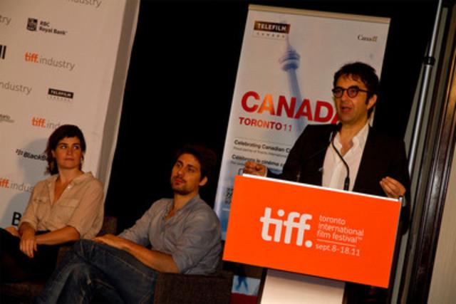 (L-R) directors Anne Émond (Nuit #1), Ivan Grbovic (Romeo Eleven) and Atom Egoyan (CNW Group/TELEFILM CANADA)