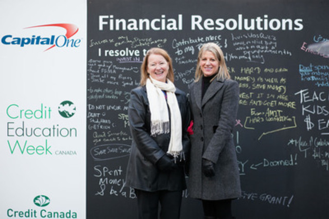 Nancy Icely, Vice President, Capital One Canada and Laurie Campbell, CEO, Credit Canada Debt Solutions ring in the new year early in celebration of Credit Education Week. At an official New Year's party complete with ball drop today in Toronto, consumers were challenged to make their financial resolutions NOW, before the holiday spending season begins. (CNW Group/Capital One)