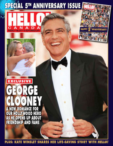 George Clooney, one of the many A-listers scheduled to be in town for the Toronto film festival, graces the cover of a special 5th anniversary issue of HELLO! Canada (CNW Group/HELLO!)