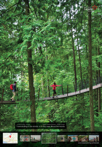 Le pont suspendu de Capilano, en Colombie Britannique, fait partie des 24 membres de la Collection d'expériences distinctives mis en vedette dans la dernière campagne publicitaire en date de la Commission canadienne du tourisme en Australie. (Groupe CNW/Canadian Tourism Commission)