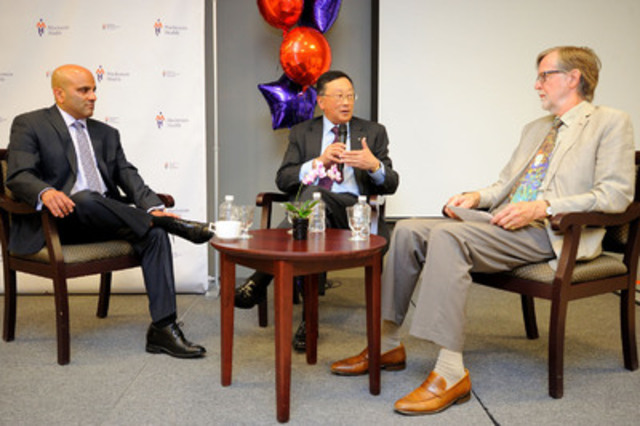 Altaf Stationwala, President and CEO, Mackenzie Health, and John Chen, Executive Chairman and CEO, BlackBerry, participated in a keynote discussion on healthcare in the digital age moderated by Simon Hally, Freelance Journalist. (CNW Group/Mackenzie Health)