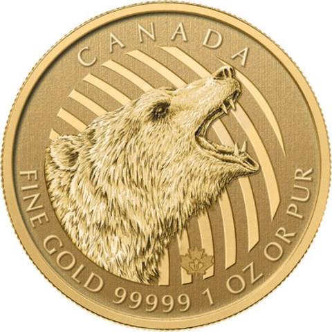 The Royal Canadian Mint's 1 oz., 99.999% pure gold Call of the Wild: Roaring Grizzly bullion coin. (CNW Group/Royal Canadian Mint)
