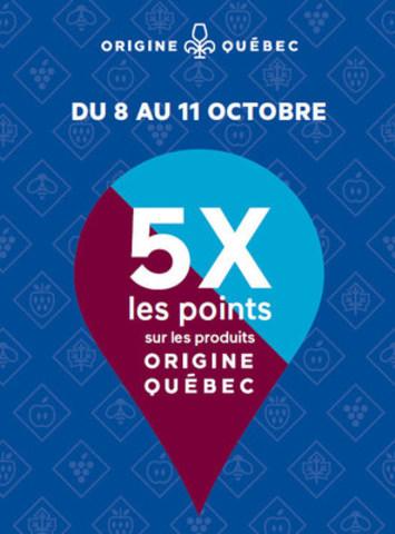Avec SAQ Inspire, obtenez 5 fois les points sur les produits Origine Québec, du 8 au 11 octobre. Une belle occasion de découvrir les produits d'ici ! (Groupe CNW/Société des alcools du Québec - SAQ)