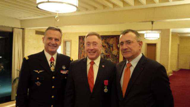 (l-r) General Gratien Maire, French Vice Chief of Defence Staff; Fanshawe President Peter Devlin; and His Excellency Nicolas Chapuis, French Ambassador to Canada, celebrate President Devlin's investiture into France's National Order of the Legion of Honour. (CNW Group/Fanshawe College)